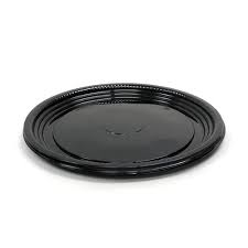 "Catering Tray Round 12"" Flat Black Base 50/Case"