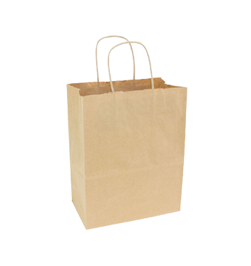 Kraft Tempo Bag with Handle  8x4.75x10.25 250/Case